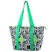 Zodaca Large Insulated Lunch Bag Cooler Picnic Travel Food Box Women Tote Carry Bags - Navy/Green Swirls