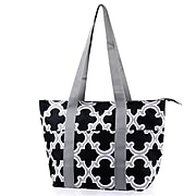 Zodaca Large Insulated Lunch Bag Cooler Picnic Travel Food Box Women Tote Carry Bags - Black Quatrefoil