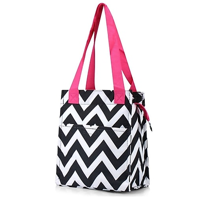 Zodaca Insulated Lunch Bag Women Tote Cooler Picnic Travel Food Box Zipper Carry Bags for Camping - Black/White/Pink