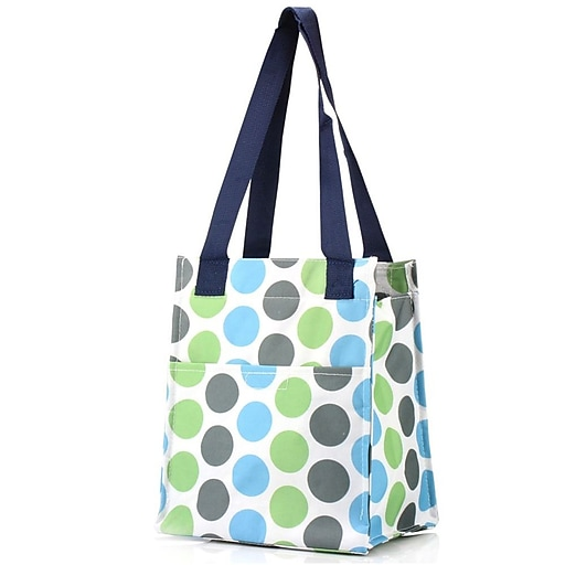 Zodaca Insulated Lunch Bag Women Tote Cooler Picnic Travel Food Box Zipper Carry For Camping Blue Polka Dot