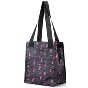 Zodaca Insulated Lunch Bag Women Tote Cooler Picnic Travel Food Box Zipper Carry Bags for Camping - Black/Pink
