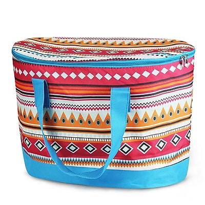 Zodaca Large Pinic Travel Outdoor Camping Party Food Drink Water Storage Zip Cooler Bag - Aztec with Blue Trim