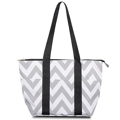 Zodaca Fashion Large Insulated Lunch Bag Women Tote Cooler Picnic Travel Food Box Carry Bags - Gray Chevron/Black Trim
