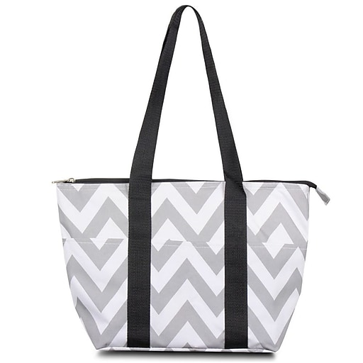 Zodaca Fashion Large Insulated Lunch Bag Women Tote Cooler Picnic Travel Food Box Carry Bags Gray Chevron Black Trim