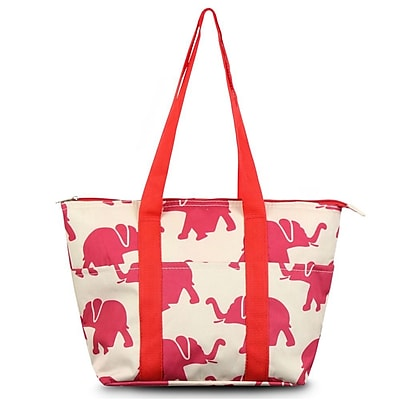 Zodaca Fashion Large Insulated Zip Top Lunch Bag Women Tote Cooler Picnic Travel Food Box Carry Bags - Elephant