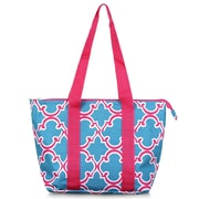 Zodaca Fashion Large Insulated Zip Top Lunch Bag Women Tote Cooler Picnic Travel Food Box Carry Bags - Blue Quatrefoil