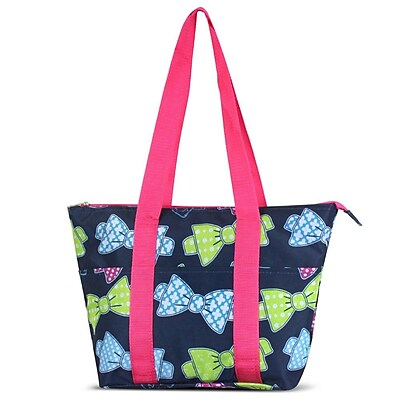 Zodaca Large Reusable Insulated Leak Resistant Lunch Tote Carry Organizer Zip Cooler Storage Bag - Multicolor Bows