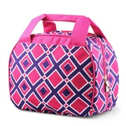 Zodaca Stylish Small Reusable Insulated Work School Lunch Tote Carry Storage Zipper Cooler Bag - Times Square Pink