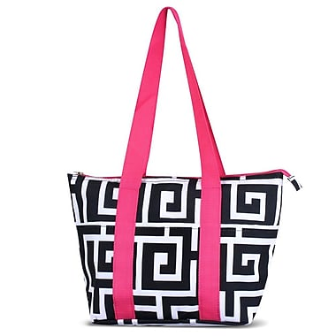 Zodaca Large Reusable Insulated Leak Resistant Lunch Tote Carry Organizer Zip Cooler Bag - Black Greek Key w Pink Trim