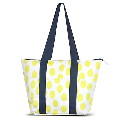 Zodaca Large Reusable Insulated Leak Resistant Lunch Tote Carry Organizer Zip Cooler Bag - Yellow Dots with Blue Trim