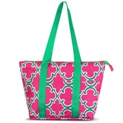 Zodaca Large Reusable Insulated Leak Resistant Lunch Tote Carry Organizer Zip Cooler Storage Bag - Pink Quatrefoil