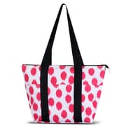 Zodaca Large Reusable Insulated Leak Resistant Lunch Tote Carry Organizer Zip Cooler Bag - Pink Dots with Black Trim
