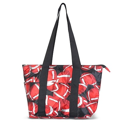 Zodaca Large Reusable Insulated Leak Resistant Lunch Tote Carry Organizer Zip Cooler Storage Bag - Red/Black Football