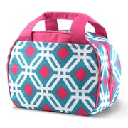 Zodaca Stylish Small Reusable Insulated Work School Lunch Tote Carry Storage Zipper Cooler Bag - Round Blue Graphic