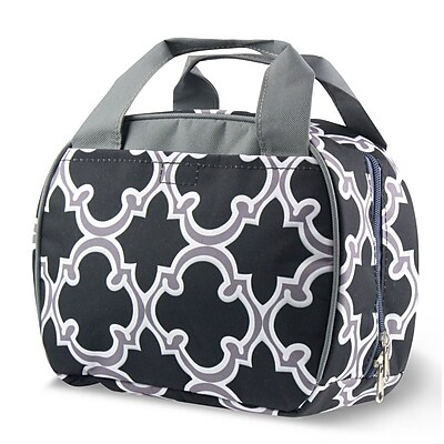 Zodaca Stylish Small Reusable Insulated Work School Lunch Tote Carry Storage Zipper Cooler Bag - Round Black Quatrefoil