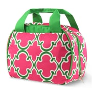 Zodaca Stylish Small Reusable Insulated Work School Lunch Tote Carry Storage Zipper Cooler Bag - Round Pink Quatrefoil