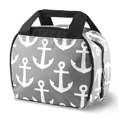 Zodaca Small Reusable Insulated Work School Lunch Tote Carry Storage Zipper Cooler Bag - Gray Anchors with Black Trim