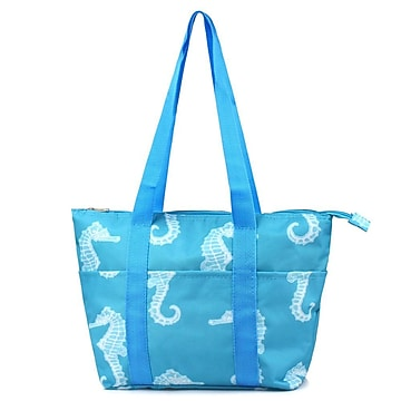 Zodaca Fashion Large Women Handbag Insulated Lunch Tote Zipper Carry Bag for Travel Grocery Shopping - Seahorse