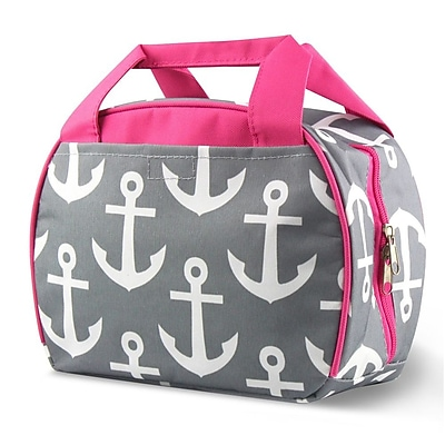 Zodaca Small Reusable Insulated Work School Lunch Tote Carry Storage Zipper Cooler Bag - Gray Anchors with Pink Trim