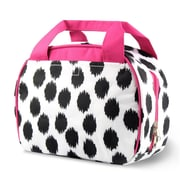 Zodaca Small Reusable Insulated Work School Lunch Tote Carry Storage Zipper Cooler Bag - Black Dots with Pink Trim