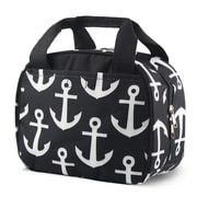 Zodaca Small Reusable Insulated Work School Lunch Tote Carry Storage Zipper Cooler Bag - Black Anchors with Black Trim