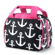 Zodaca Small Reusable Insulated Work School Lunch Tote Carry Storage Zipper Cooler Bag - Black Anchors with Pink Trim