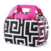 Zodaca Small Reusable Insulated Work School Lunch Tote Carry Storage Zipper Cooler Bag - Black Greek Key with Pink Trim