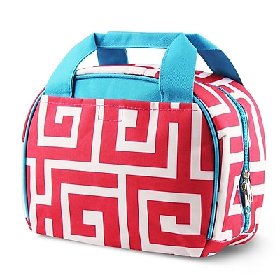 Zodaca Small Reusable Insulated Work School Lunch Tote Carry Storage Zipper Cooler Bag - Pink Greek Key with Blue Trim