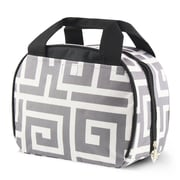 Zodaca Small Reusable Insulated Work School Lunch Tote Carry Storage Zipper Cooler Bag - Gray Greek Key with Black Trim