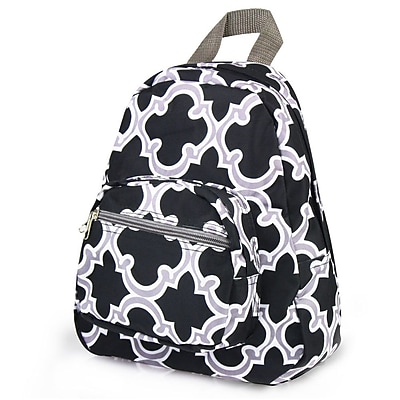 Zodaca Bright Stylish Kids Small Backpack Outdoor Shoulder School Zipper Bag Adjustable Strap - Black Quatrefoil