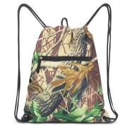 Zodaca Lightweight Sling Drawstring Bag Foldable Backpack Sports Gym Fitness - Natural Camo