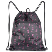 Zodaca Lightweight Sling Drawstring Bag Foldable Backpack Sports Gym Fitness - Black with Pink Ribbons