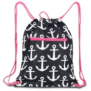 Zodaca Lightweight Sling Drawstring Bag Foldable Backpack Sports Gym Fitness - Anchors Black with Pink Trim