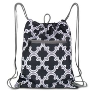 Zodaca Lightweight Sling Drawstring Bag Foldable Backpack Sports Gym Fitness - Black Quatrefoil