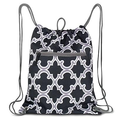 Zodaca Lightweight Sling Drawstring Bag Foldable Backpack Sports Gym Fitness - Black Quatrefoil