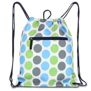 Zodaca Lightweight Sling Drawstring Bag Foldable Backpack Sports Gym Fitness - Blue/Green Dots on Black Trim