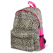 Zodaca Outdoor Large Backpack Padded Back Travel Hiking Camping Bag Adjustable Shoulder Strap - Leopard Pink Trim
