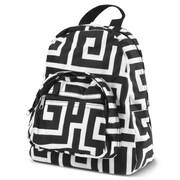 Zodaca Bright Stylish Kids Small Backpack Outdoor Shoulder School Zipper Bag Adjustable Strap - Black Greek Key