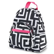 Zodaca Stylish Kids Small Backpack Outdoor Shoulder School Zipper Bag Adjustable Strap - Black Greek key with pink