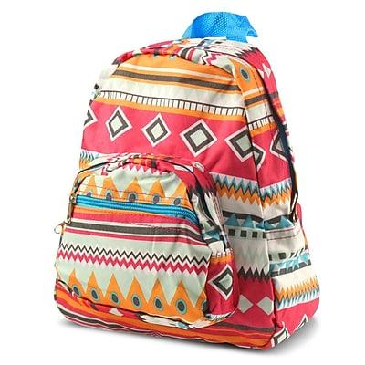 Zodaca Bright Stylish Kids Small Backpack Outdoor Shoulder School Zipper Bag Adjustable Strap - Aztec Blue Trim