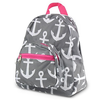 Zodaca Stylish Kids Small Backpack Outdoor Shoulder School Zipper Bag Adjustable Strap - Gray Anchors with Pink Trim