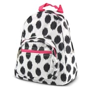 Zodaca Bright Stylish Kids Small Backpack Outdoor Shoulder School Zipper Bag Adjustable Strap - Black Dot with pink