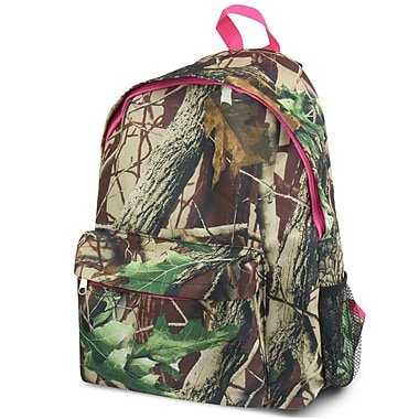 Zodaca Outdoor Large Backpack Travel Hiking Camping Bag Adjustable Shoulder Strap - Natural Camo with Pink Trim