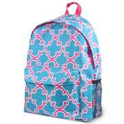 Zodaca Outdoor Large Backpack Padded Back Travel Hiking Camping Bag Adjustable Shoulder Strap - Blue Quatrefoil