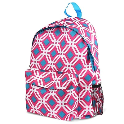 Zodaca Outdoor Large Backpack Padded Back Travel Hiking Camping Bag Adjustable Shoulder Strap - Pink Graphic