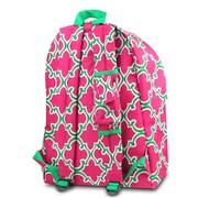 Zodaca Outdoor Large Backpack Padded Back Travel Hiking Camping Bag Adjustable Shoulder Strap - Pink Quatrefoil