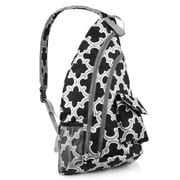 Zodaca Padded Cross Body Bag Shoulder Travel Camping Hiking Sling Backpack Zipper Bag - Black Quatrefoil