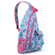 Zodaca Padded Cross Body Bag Shoulder Travel Camping Hiking Sling Backpack Zipper Bag - Blue Quatrefoil