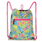 Zodaca Lightweight Sling Drawstring Zipper Bag Foldable Backpack Sports Hiking Gym Yoga Fitness - Green/Pink Paisley