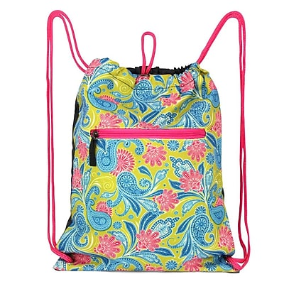 Zodaca Lightweight Sling Drawstring Zipper Bag Foldable Backpack Sports Hiking Gym Yoga Fitness - Green/Pink Paisley